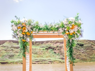 Time Lapse - River Wedding Arch Florals