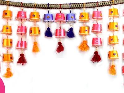 Toran from Disposable Tea Glass | DIY Hanging for Door Decor | Sonali's Creations #80
