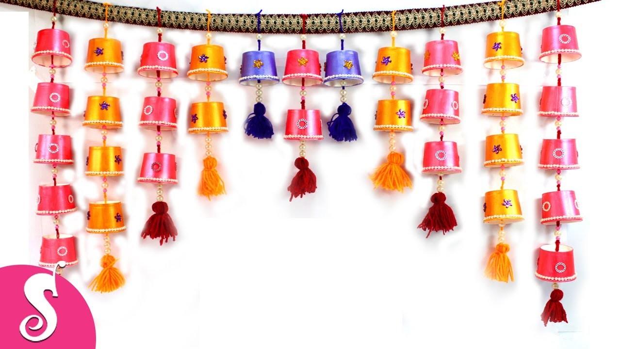 Toran from Disposable Tea Glass   DIY Hanging for Door Decor   Sonali's Creations #80