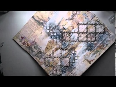 Tutorial on mixed media background scrapbooking page for Blue Fern Studios 'Memories'