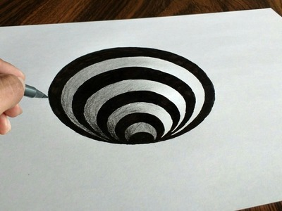 Very Easy 3D Trick Art How to Draw a Round Hole on Paper