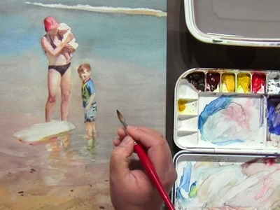 Watercolor Painting of Mother and Children Beach Scene, part 3