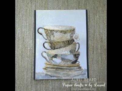 Watercolored Tea Cups with Gansai Watercolors