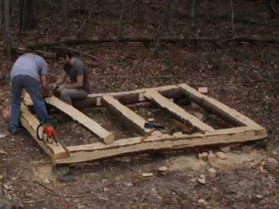 10' x 8' Log Cabin Episode 3 - Floor Joists (Part 2). Floorboards (Part 1)