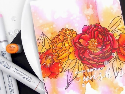 Analogous Watercolors and Copics w.Kelly ft. MODERN PEONIES Stamp Set