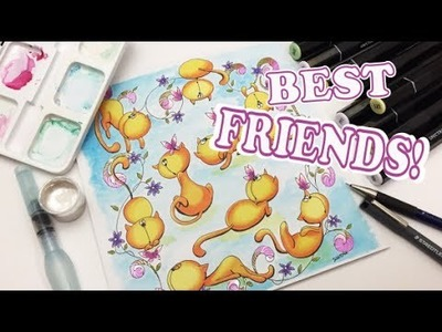 Best friends! The Cat and the Butterfly- speed drawing and coloring+ Giveaway