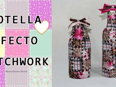 Botella efecto  patchwork