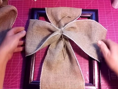 Burlap Cross on a Picture Frame.