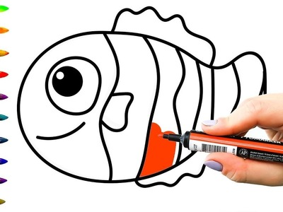 Coloring Pages Sea Fish | How to Draw Sea Fish for Children | Art Colors for Kids