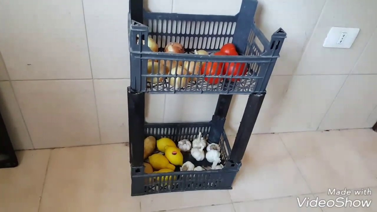 DIY- Fruit Crates into veges basket shelf- Quick and Easy recycling idea