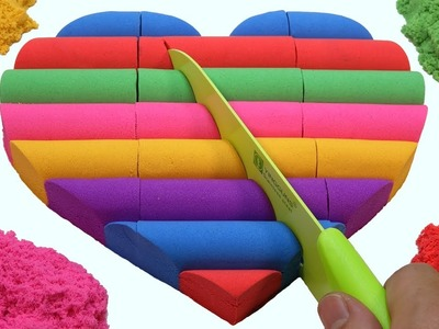 DIY How To Make Kinetic Sand Rainbow Heart Popsicle Sticks - Learn Colors Videos For Kids