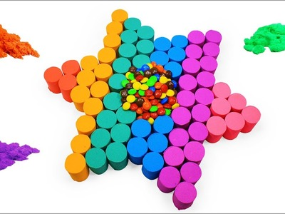DIY How To Make Kinetic Sand Play Doh Rainbow Slime Star Foam Clay - Learn Colors For Children