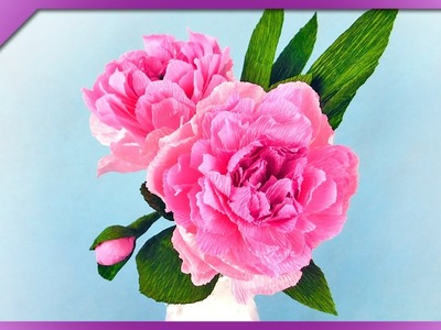 DIY How to make tissue paper peony (ENG Subtitles) - Speed up #363
