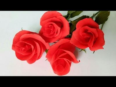 DIY Valentine Rose ❤????with crepe paper
