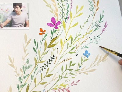 DIY Watercolor Painting | floral, branches and leaves