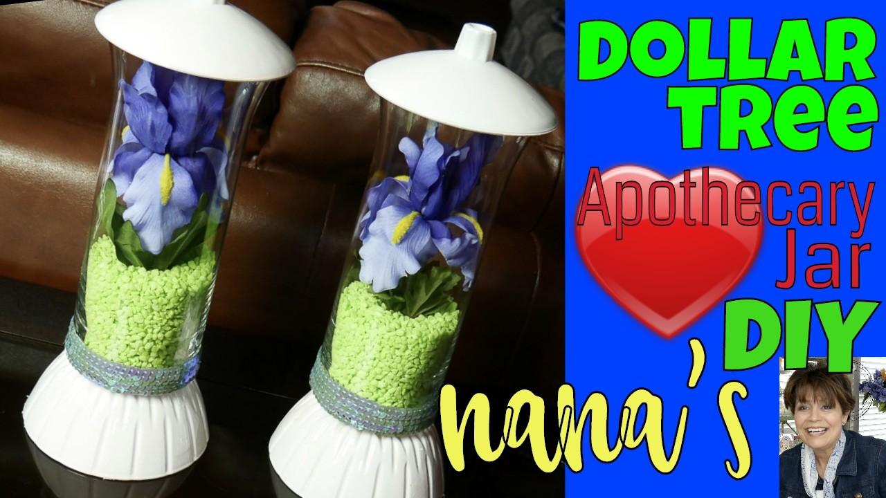 ????????EZ!! Dollar Tree Apothecary Jar & Milk Glass Paint: Do-it-Yourself Iris Centerpiece Quick DIY