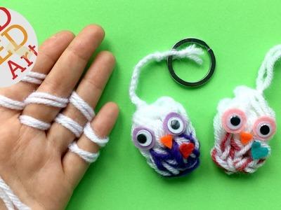 Finger Knitting Owl DIY - Keychain DIY or Owl Ornament DIY