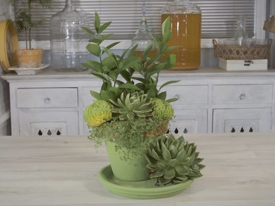 Floristry Design using Succulents, Ruscus and Green Chrysanthemums