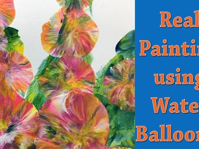 Fluid Acrylic Painting with Balloons Technique - Hollyhocks Fast and Easy!