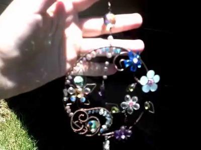 Gemstone Sun Catcher Crystal Copper wire wrapped flower Garden