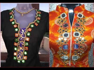 Hand embroidery work necklines cutting and stitching DIY हाथ कढ़ाई के काम के लिए necklines