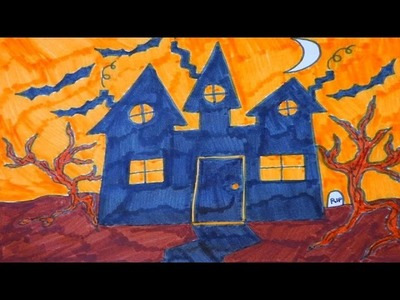 Haunted House Halloween Drawing For Kids: Learn Colors and Shapes