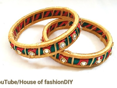 How To Design Silk Thread Bangles With Stones At Home. !!