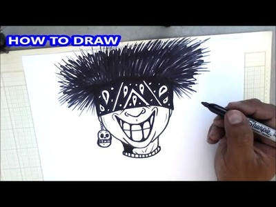 How to draw a  spikey hair character - graffiti character