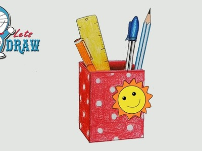How to draw pen holder step by step (very easy)