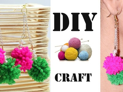 How to Make Beautiful Earrings with Wool Thread. Yarn at Home | DIY Jewellery