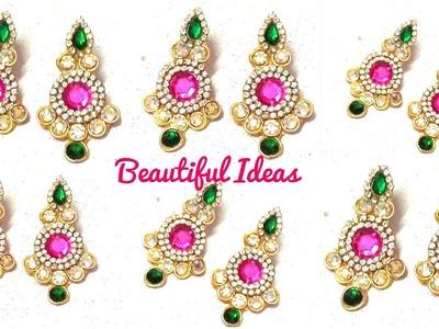 How to Make Designer Earrings.Bridal & Designer Crystal Stone Earrings making at Home.Paper Earrings