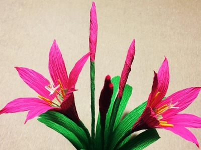 How to make rain lily paper flower| Rain lily making with crepe paper tutorials| paper craft