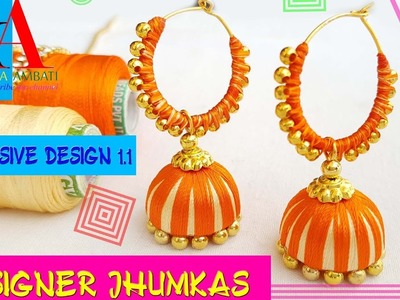 Making of designer silk thread jhumkas. ring model jhumkas. only exclusive design at home