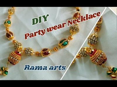 Partywear Stone beaded necklace - How to make partywear necklace | jewellery tutorials