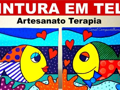Pintura em Tela Estilo Romero Britto  - Fishes in Love Acrylic painting on Canvas for Beginners