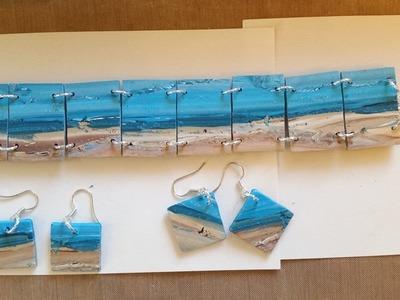 Polymer Clay Beach Tiles - Bracelet & Earrings
