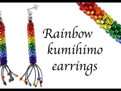 Rainbow beaded kumihimo earrings