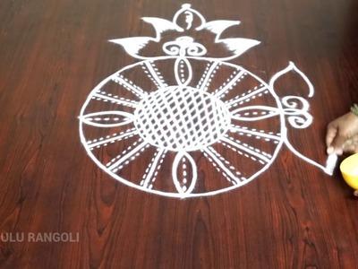 Rangoli designs very simple || rangoli simple and easy || muggulu designs simple || muggulu rangoli
