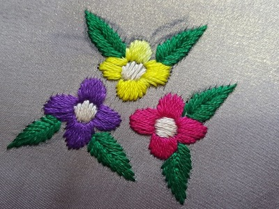 Simple Satin Flower Stitch_Hand Embroidery