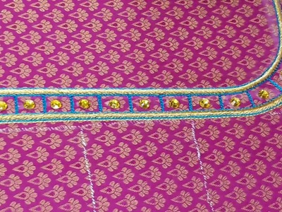 Simple work making on pattu blouse - hand embroidery making video