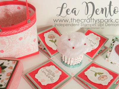 Stampin' Up! Demonstrator Lea Denton - Cupcake Exploding Box Card Birthday Blooms | part 2