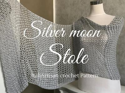 Stola Silver Moon-Scialle all'uncinetto- crochet tutorial-crochet stole.shawl