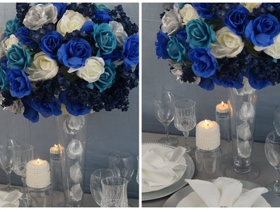 Tall Wedding Centerpiece. DIY. How To Create A Tall Blue Beauty Centerpiece