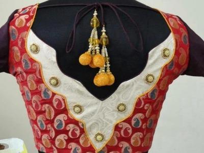 డిజైనర్ బ్లౌస్ కటింగ్ అండ్ స్టిచింగ్ ,Easy Making of Designer blouse at home DIY - 7