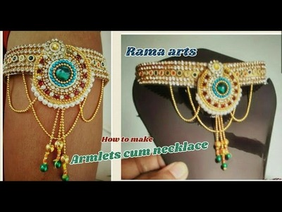 Trendy Armlet - 2 in 1 armlet cum necklace making | jewellery tutorials