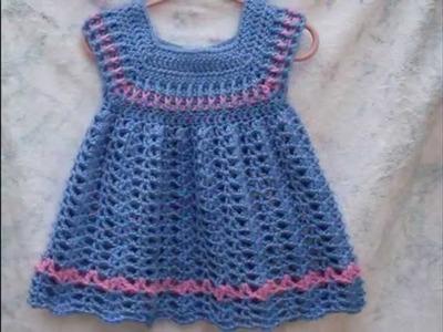 Vestiditos bebe niña tejidos a crochet - parte 2 diseños