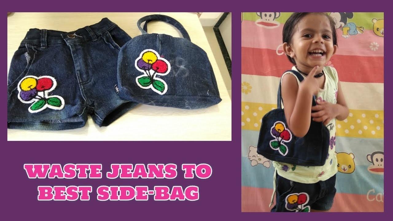 Waste jeans to best side bag and short make at home Diy