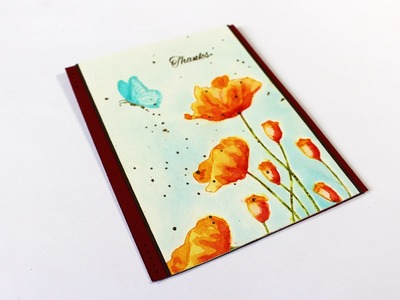 Watercolor Stamped & Painted Poppies