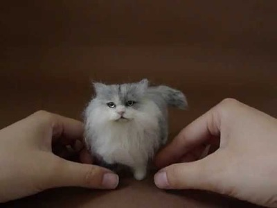 #188 貓 Needle Felted Cat by dollmofee creations