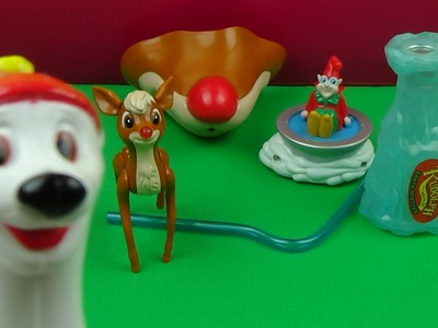 1998 WENDY'S RUDOLPH THE RED NOSED REINDEER KIDS' MEAL SET OF 5 MOVIE TOYS VIDEO REVIEW
